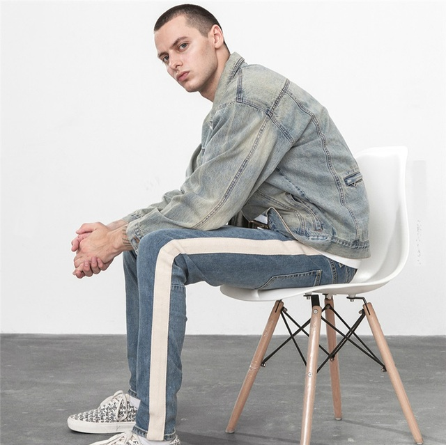 Beige Tape Stripe Drawstring Biker Jeans Kanye West Skinny Fit Low Waist Denim Jogger Pants Free Shipping