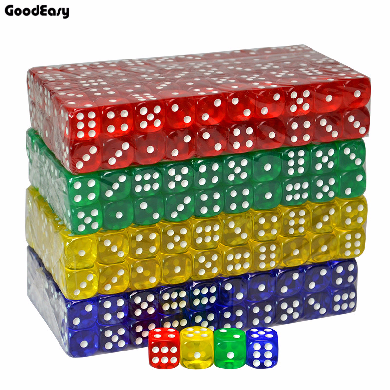 20PCS/SET 7 Colors Casino Dice Set 16mm Acrylic/Plastic Digital Dice Set Drinking Gambling Translucent Dice 6 Sides Poker Dice