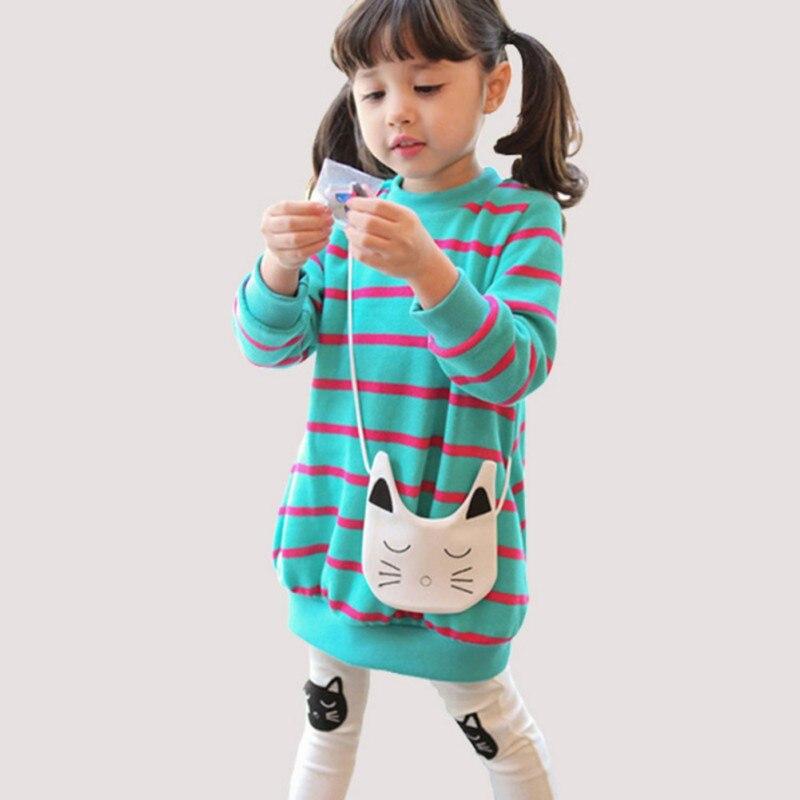 Kids Girl 2PCS Clothes Set Cute Cat Pattern Version Of Stripe Cartoon Long-Sleeved Children Girls Suit