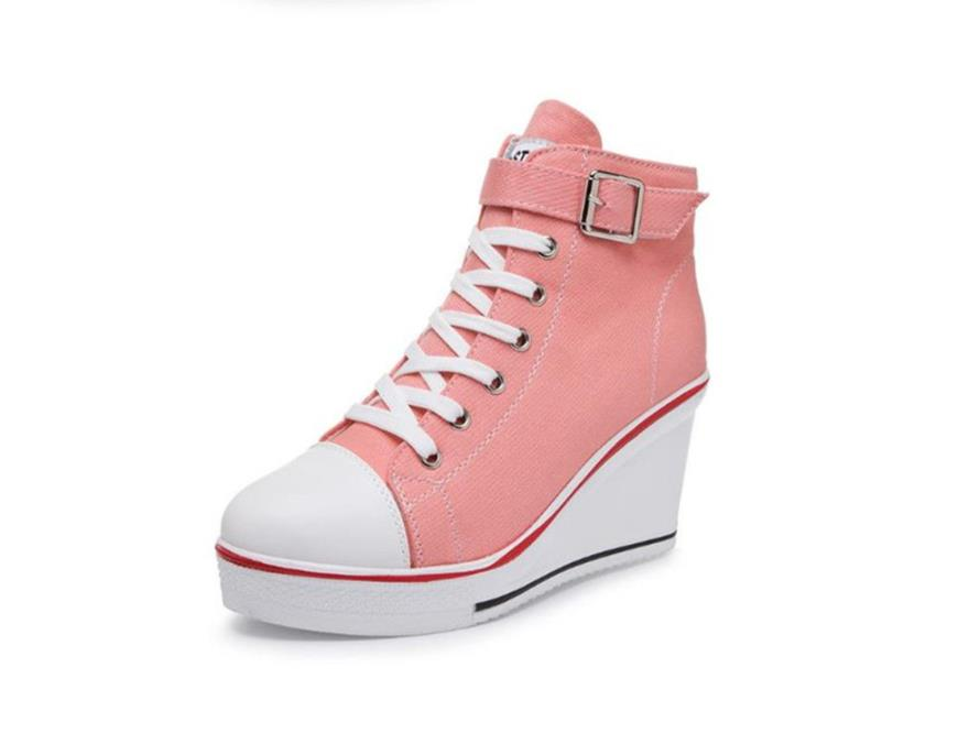 Mujeres Estudiantes Primavera Para 18 Pastel Esponja De Cuña rosado Casual rojo Y Negro Aumentar Verano Ayudar Cm Lona Otoño Zapatos A 8 Alta TwqwCa