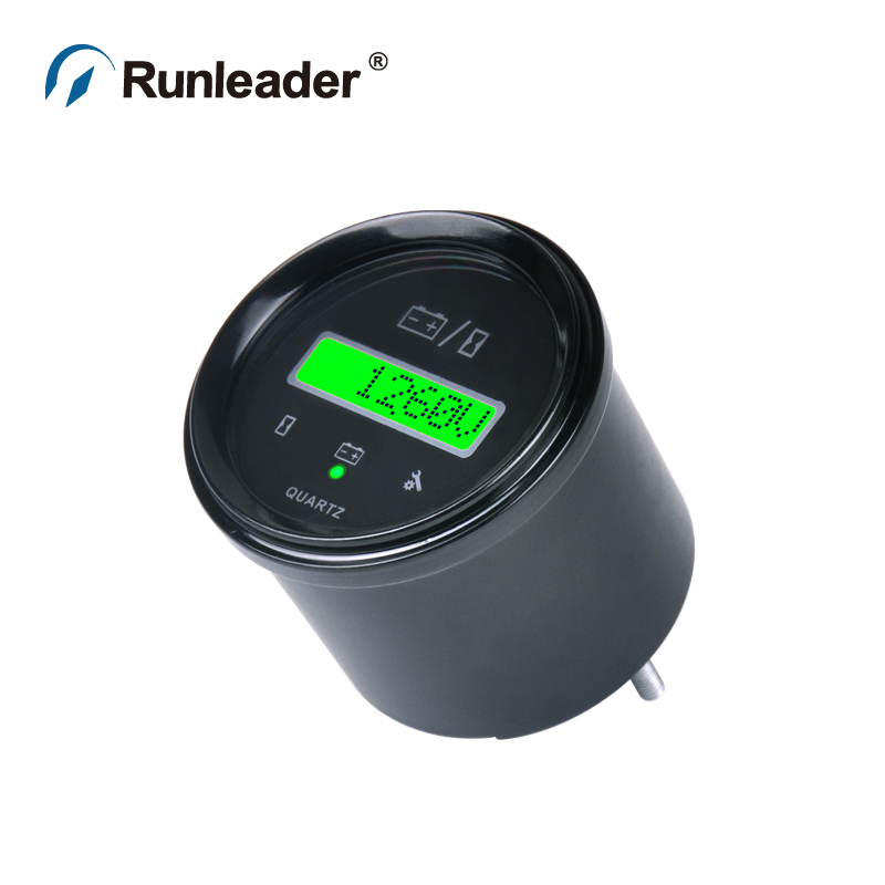 Runleader Round Hour Meter LED Battery Indicator DC Voltage Charger For ATV UTV Tractor Golf Carts Buggies Utility Vehicle