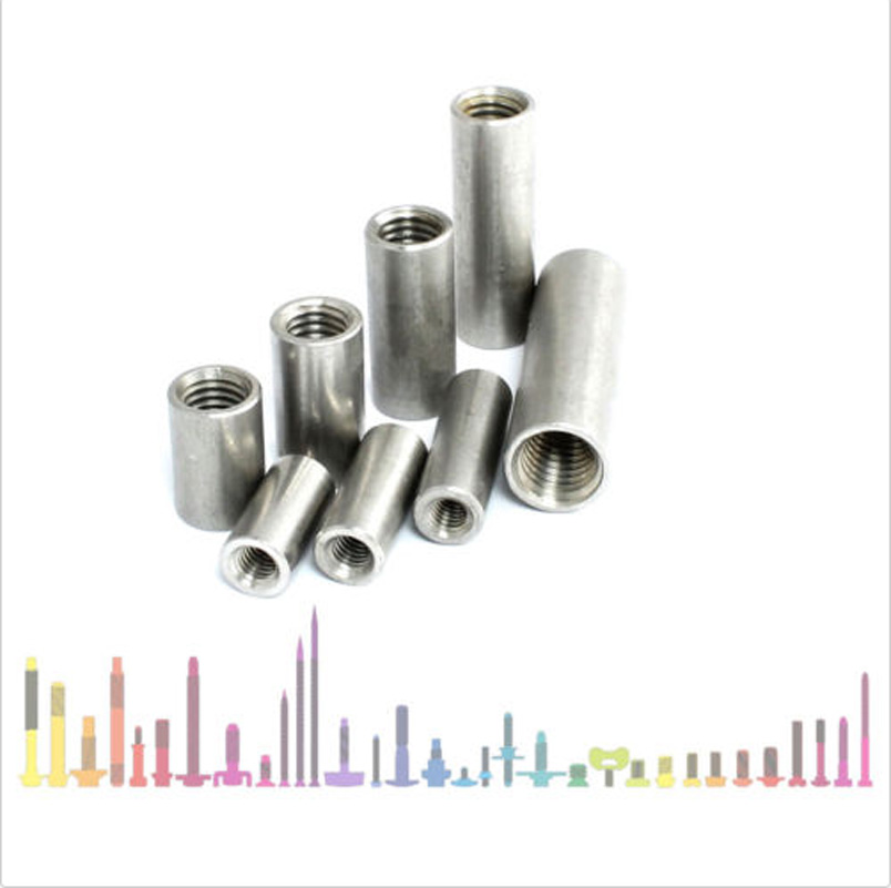 A2 Stainless Steel M6 Round Studding Connector Nuts All Thread Rod Bar Sleeve Tube 6mm 20-30mm