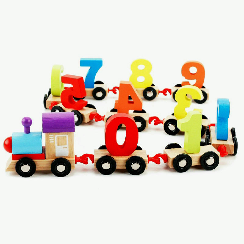 Digital small train toy children Assembled train scale models toys wooden classic toy Kids wood educational car toys in Diecasts Toy Vehicles from Toys Hobbies