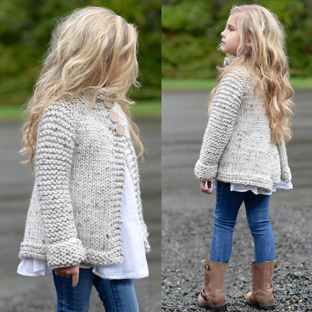 Toddler Kids Baby Girls Outfit Clothes Button Knitted Sweater Cardigan Coat Tops 30 high neck button embellished knitted sweater