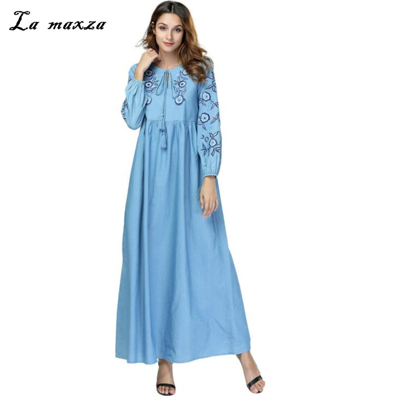 de1abf5faa Aliexpress.com   Buy Womens Muslim Abaya Maxi Dress Embroidery Islamic Robe  Kaftan Dubai Muslim Dress Loose Modest Denim Dress from Reliable Islamic ...