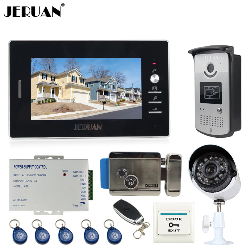 JERUAN Home 7`` LCD Video door Phone Entry Intercom System kit waterproof RFID Access Camera + 700TVL Analog Camera + E-lock jeruan home 7 video door phone record intercom system kit rfid access ir camera 700tvl analog camera 8gb sd card e lock page 8