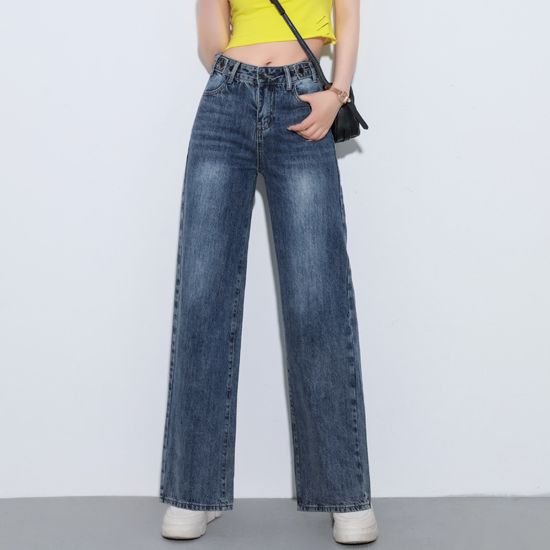 NORMOV Fashion Women Autumn Winter Wide Leg  Jeans High Waist Zipper Pockets  Loose Vintage Streetwear Blue Jeans Trousers