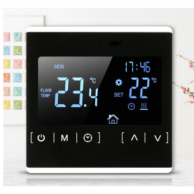 Double temperature dual control floor heating thermostat LCD touch screen room controller backlight