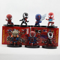 7pcs Set Color Box Packing 6cm The Avengers Super Heroes Q Version SpiderMan PVC Action Figure