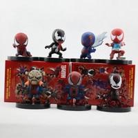 7pcs Set Color Box Packing 6cm The Avengers Super Heroes Q Version SpiderMan PVC Action Figure
