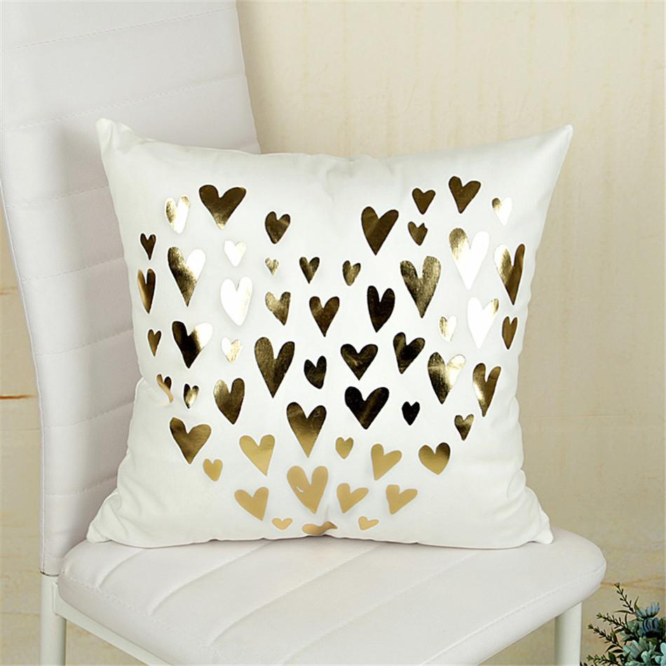 Bling sequin bronzing pillowcase cotton pillows case cover pillow art stripe lips black white gold bedroom