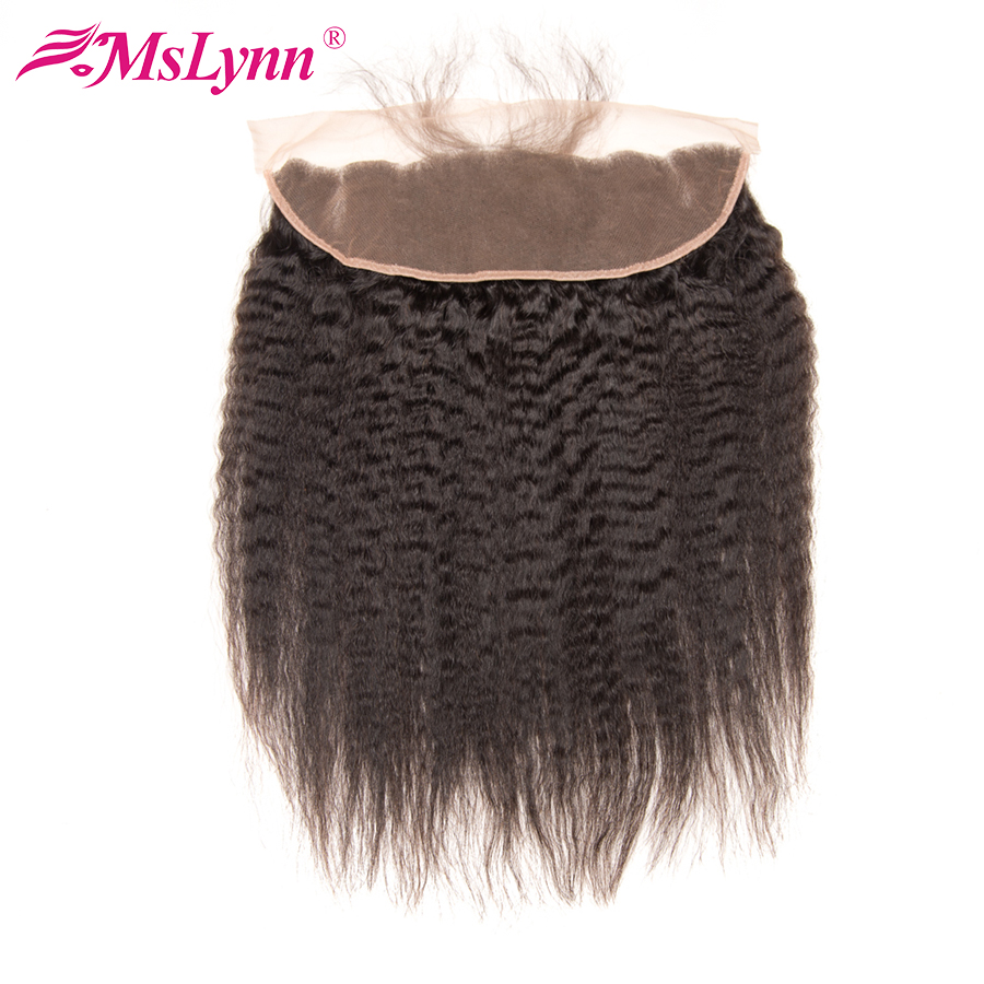 Brazilian Hair Pre Plucked Lace Frontal Kinky Straight Hair Human Hair Closure 13X4 Ear To Ear Natural Hairline Remy Mslynn