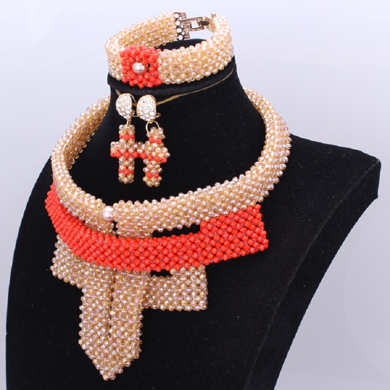 African Beads Jewelry Set Gold Orange Wedding Jewelry Set Of Beads Nigerian Set 2018 New Jewelry Sets For Women Free Shipping a suit of chic rhinestoned leaf wedding jewelry set for women