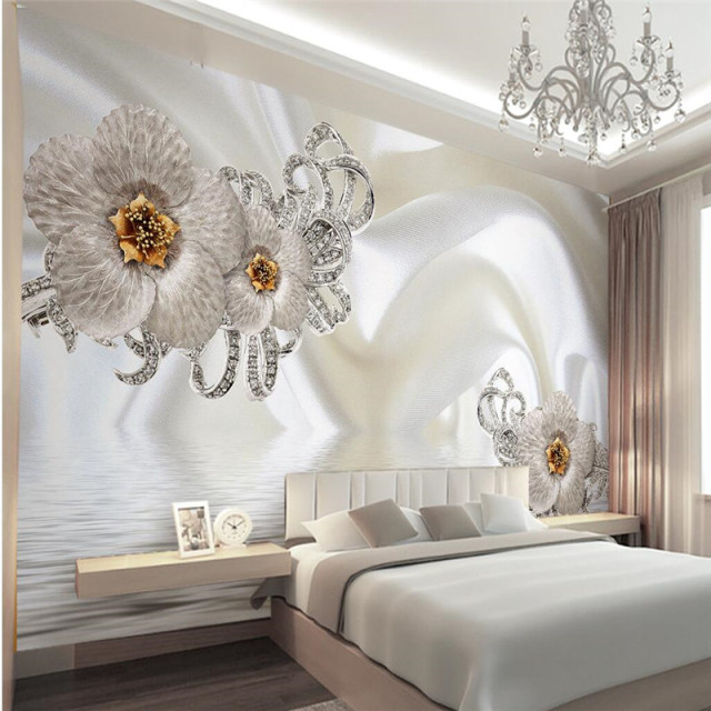 Murals Wallpapers Home Decor Photo Background Wallpaper Photography Silk Cloth Diamond Hotel Bathroom Large