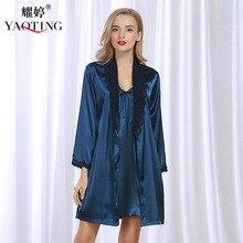 New Spring Women Night Dress 2 Pcs Robes Bathrobes Longue Femme Robe Set Silk Satin Nightgown Nightdress Night Gown WP306