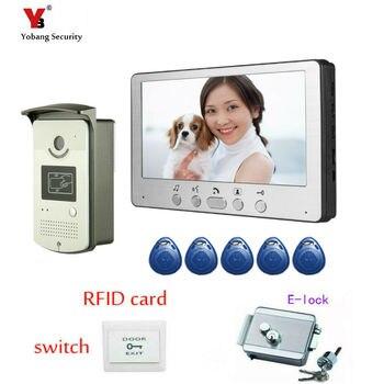 Yobang seguridad 7 pulgadas Video intercomunicador puerta campana con cámara + Rfid bloqueo electrónico visión nocturna dispositivo hogar teléfono intercomunicador