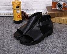 Genuine Leather Black Sandalias Hombre Sandals Men Cool Hollow Mens Summer Shoes Casual Beach calzado hombre Plus Size