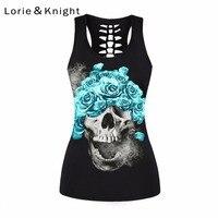 Women's Skull Print Gothic Motorcycle Sport Sleeveless T shirt Summer Vest Top
