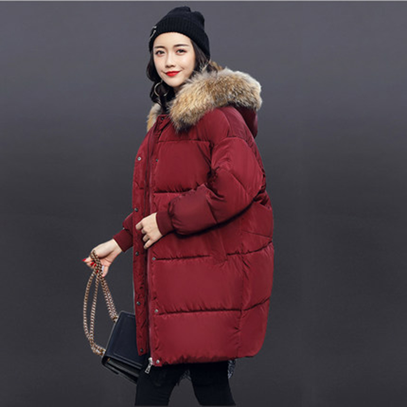 YAGENZ 2017 new winter big collar cotton women in the long section of loose bread clothes female cotton jacket thick coat sky blue cloud removable hat in the long section of cotton clothing 2017 winter new woman