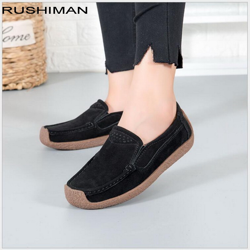 RUSHIMAN Spring Autumn Women Casual Shoes   Suede     Leather   Slip-On Women Flats Platform Shoes Woman Moccasins Loafers Shoes