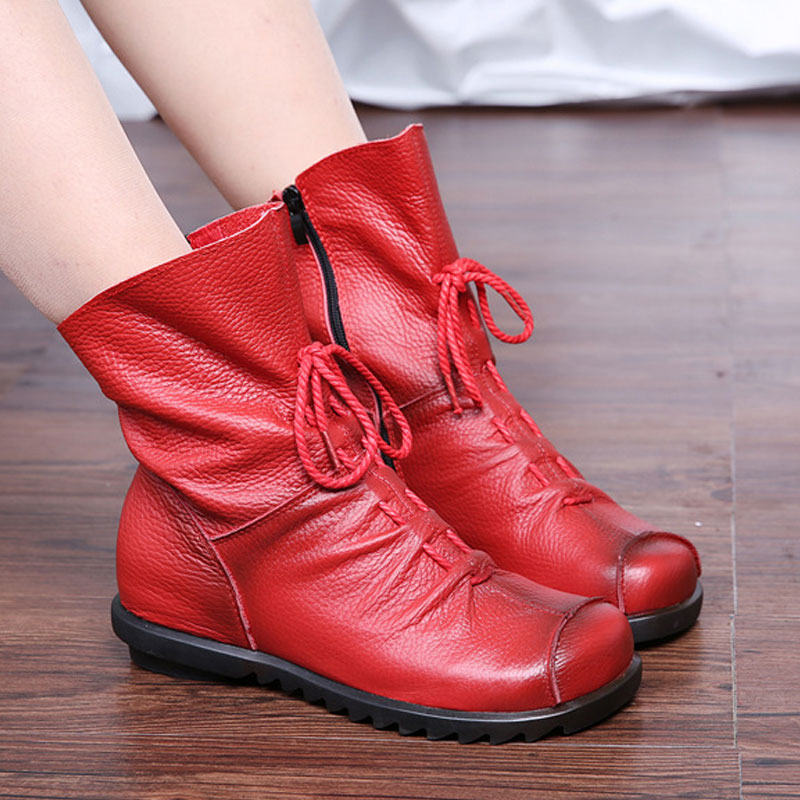b1750e8ee11d Leather Women Winter Boots with Fur Plush Female Flat Snow Women Ankle  Boots Casual Warm Cotton Ladies Winter Shoes JC202