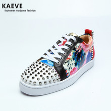 2018 Kaeve Spikes Rivets Mixcolors Patchwork Leather Studded Men Casual Flower Printing Flats Lace Up Hommes Chaussures Sneakers