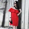 Simplee Оборками с плеча лето dress Женщины уличная рукавов короткие dress White sexy vestidos труба пляж красные платья