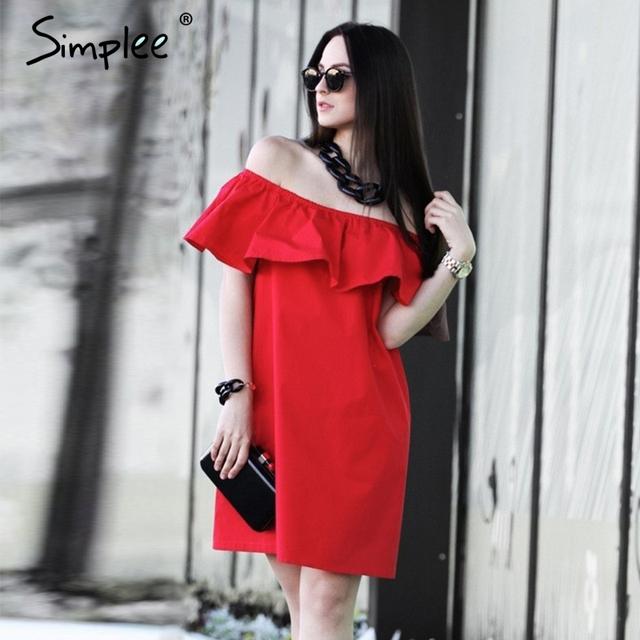 Simplee ruffles fora do ombro verão dress mulheres streetwear mangas curto dress branco sexy vestidos vestidos de praia tubo vermelho