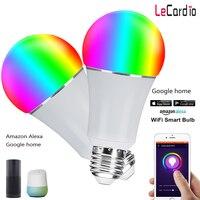 2PC E26 E27 Smart LED Wifi Lamp Bulb RGB Multicolor Dimmable Voice Control Light Bulb Stage Light Compatible Google Assistant