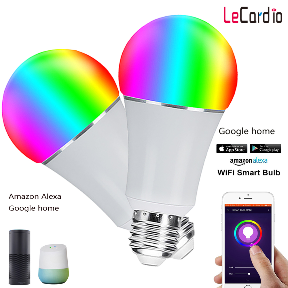2PC E26 E27 Smart LED Wifi Lamp Bulb RGB Multicolor Dimmable Voice Control Light Bulb Stage Light Compatible Google Assistant