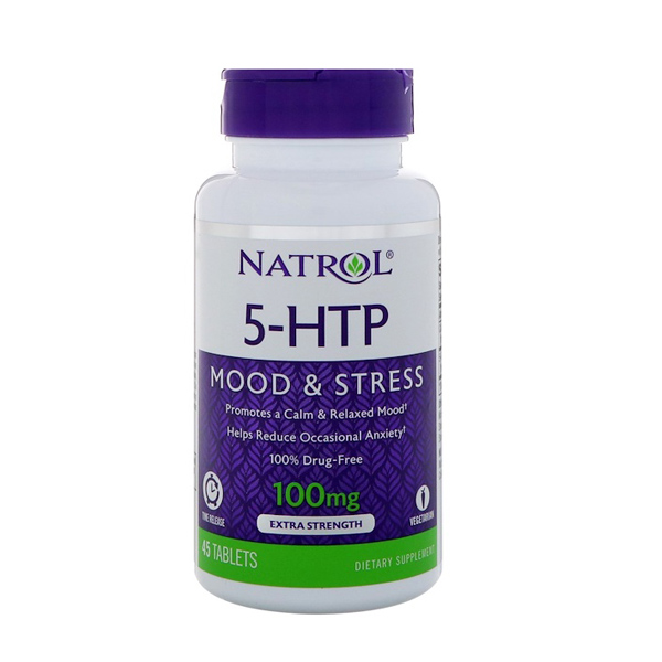 Natrol 5-HTP 100 mg promotes a calm & relaxed mood helps reduce occasional anxiety 45 tablets image