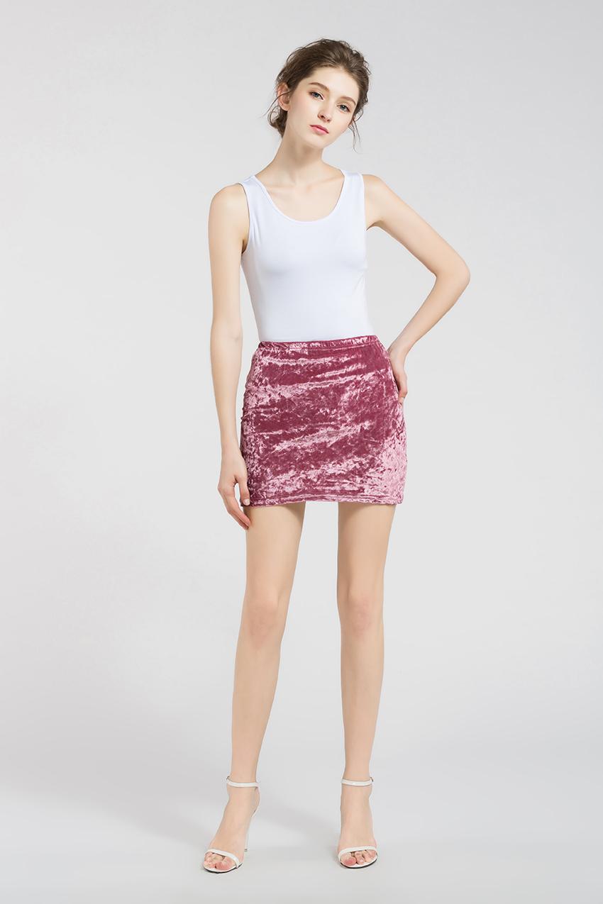 HTB1e 5MRXXXXXXBXXXXq6xXFXXXA - FREE SHIPPING !!!! Velvet Skirt Women Autumn Black Pink Elastic High Waist Female JKP324