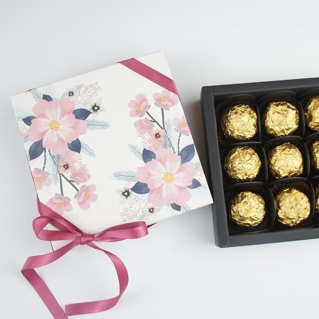13.1*13.1*3.5cm light pink flower theme 10 set Chocolate Paper Box valentine's day Candy Storage Boxes DIY handmade multi-use