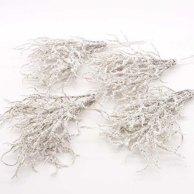 6pcs  Artificial white Grass Plant Artificial Flowers for Wedding Christmas Decor DIY scrapbooking Wreath Fake flowers