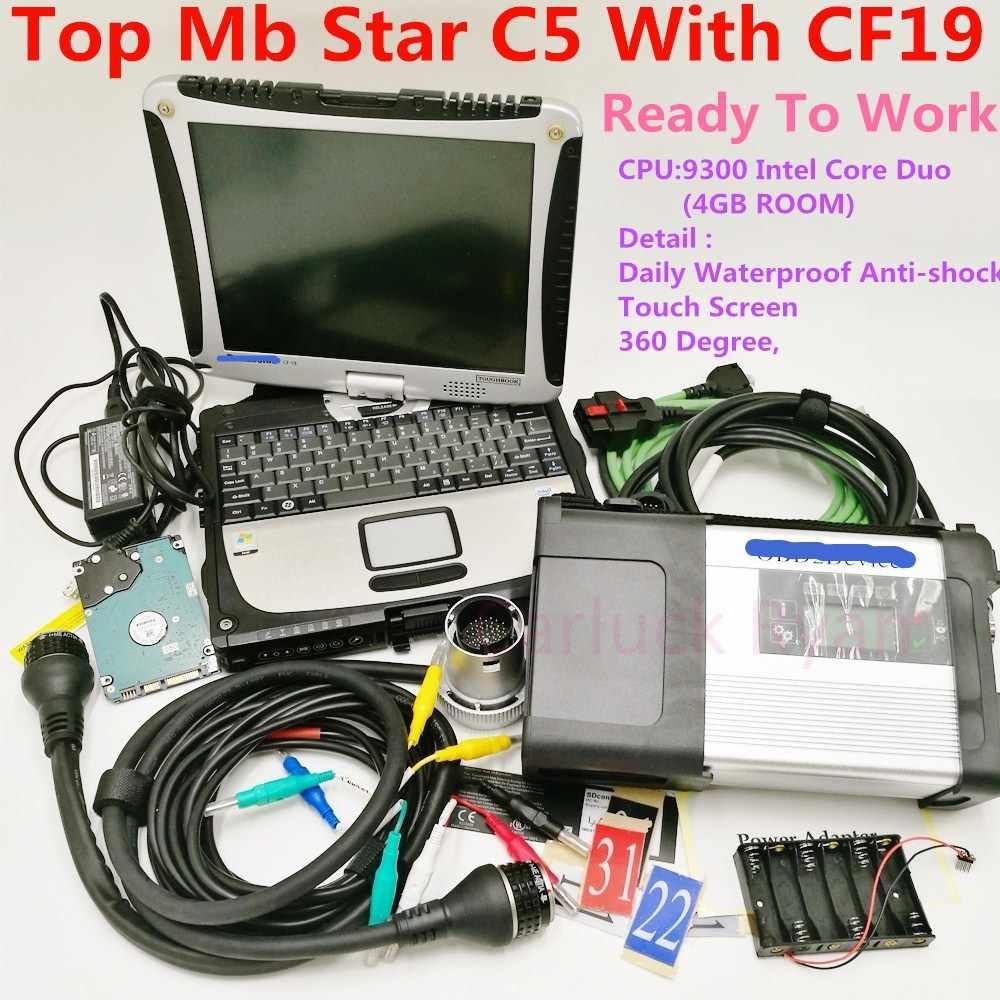 MB Star C5 2019 SD conecta C5 con el software más nuevo 2019,09 herramienta de diagnóstico mb star c5 vediamo/X/DSA/DTS con ordenador portátil CF19