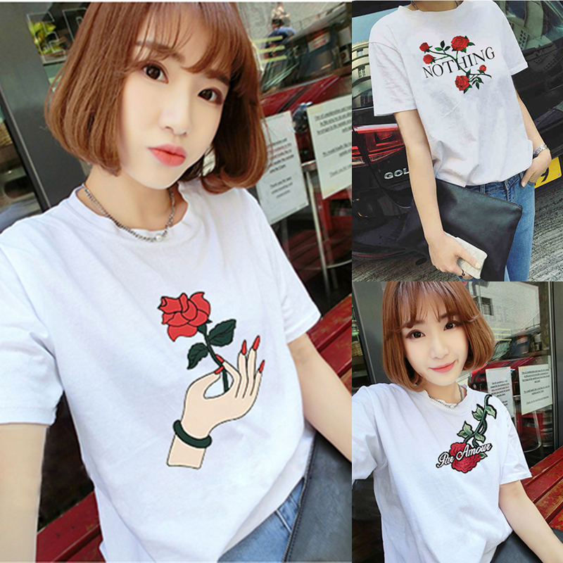 Sexy Piggy Store Harajuku Female T-shirt Summer Street Students Loose T-Shirt Women Casual Flower All-match White Short Sleeve T Shirts Tops Tee