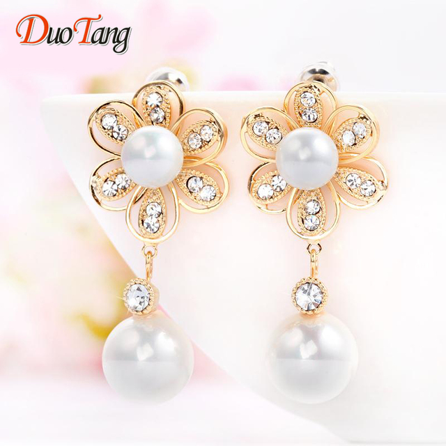 DuoTang High Quality Classic Gold Plated Pearl Flowers Stud Earrings Korean Fashion Rhinestone Earrings For Woman Jewelry Gift