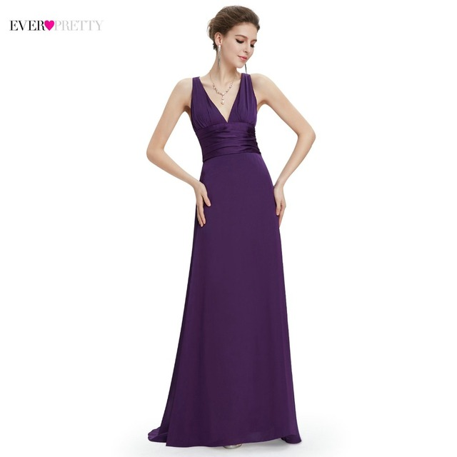 03808c48907 New Arrival Ever-Pretty Dark Purple Evening Dresses V-Veck Sexy Low-cut  Elegant Chic Classic Party Dress Floor Length EP09008
