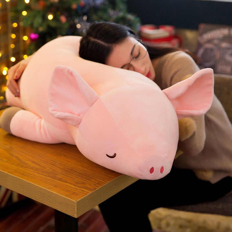 70 cm de Pelúcia Brinquedos Macios Brinquedo Peluche Kawaii Animal Pink Pig Para Baixo Algodão Crianças Meninas Grande Travesseiro Brinquedos Para As Crianças presentes de natal