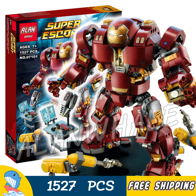 1527pcs Super Heroes Black Panther the Hulk Buster: Lutron Edition 07101 Model Building Blocks Toys Bricks Compatible With lego