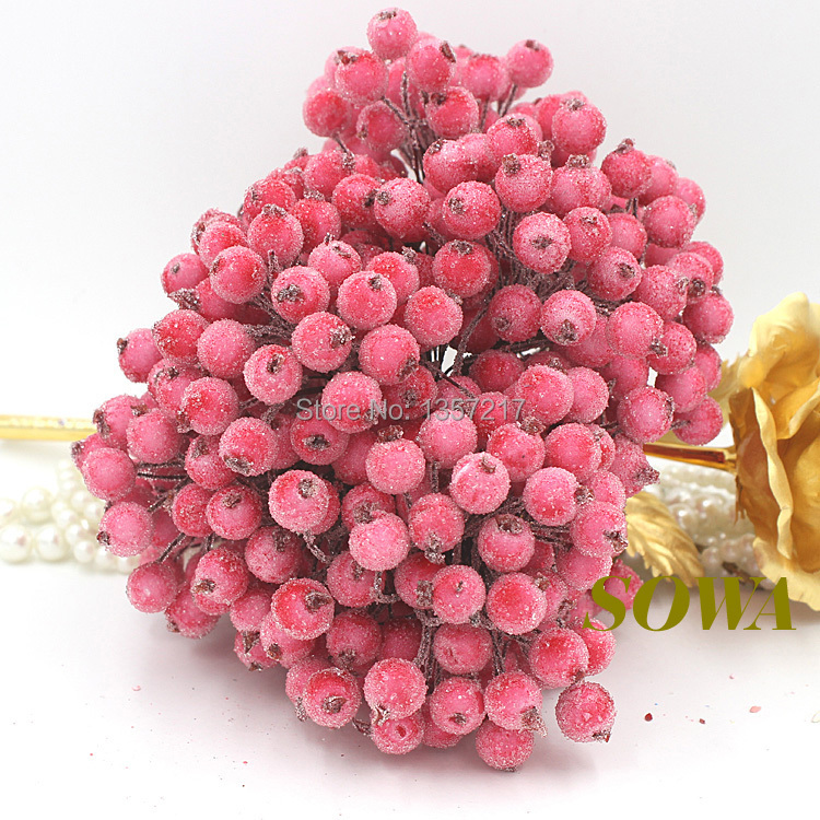 Free Shipping 100pcs(200heads) 12mm Double Heads Dark Pink High Simulation Glass Pomegranate Strong Stem Glass Fruit Stamen