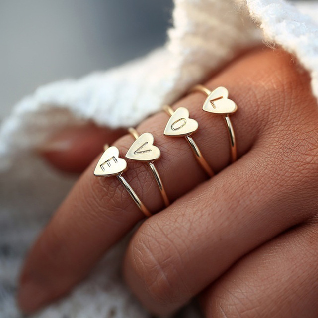hot sale simple diy letters rings adjustable Engagement Rings for Women exquisite jewelry Wedding rings female accessories gift