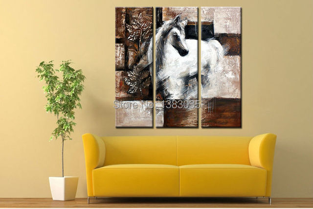 Hand Painted Modern Abstract Oil Painting Animal Horse Three Piece ...
