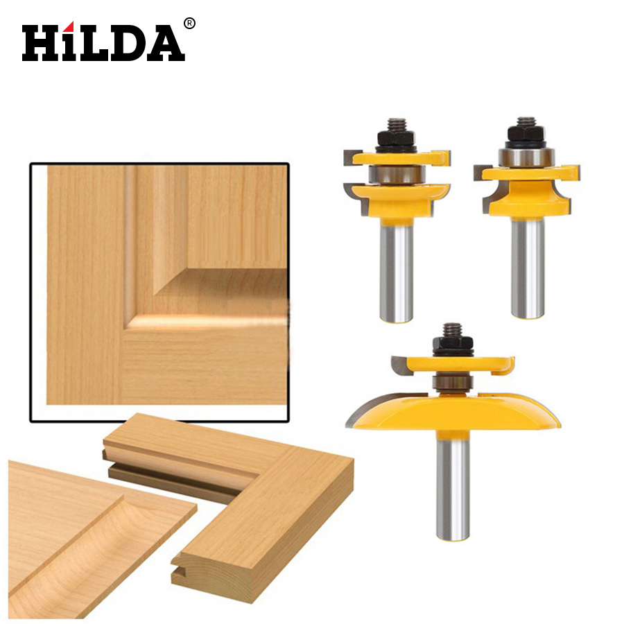HILDA 1/2'' Shank Rail & Stile Ogee Blade Cutter *3 Panel Cabinet Router Bits Set Milling cutter Power Tools Door knife Wood Cut цена