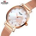 GUANQIN ультратонкие водонепроницаемый модные женские часы простой досуг Кварцевые часы женщины одеваются часы relógio feminino