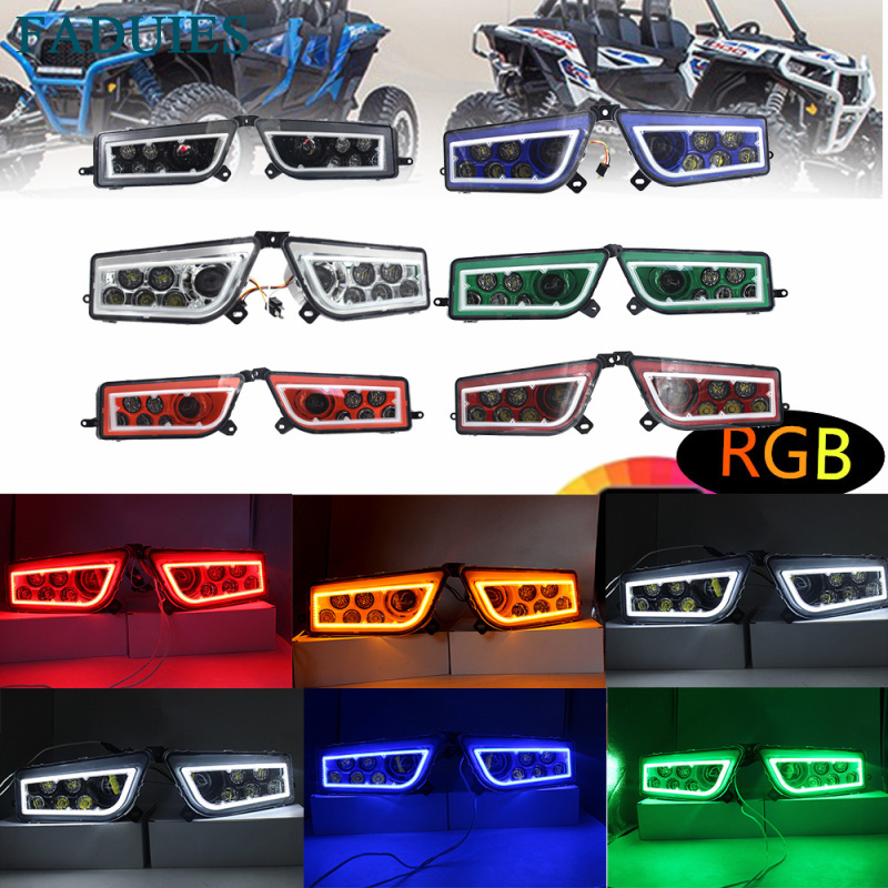 FADUIES ATV UTV POLARIS RZR LED Headlights with RGB lights - ATV Part POLARIS RZR 1000 XP Control RGB LED Halo Headlight