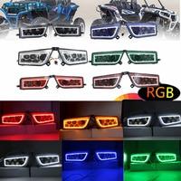 Faduies ATV UTV Polaris RZR LED Фары для автомобиля с RGB огней ATV часть Polaris RZR 1000 XP Управление RGB LED halo фар