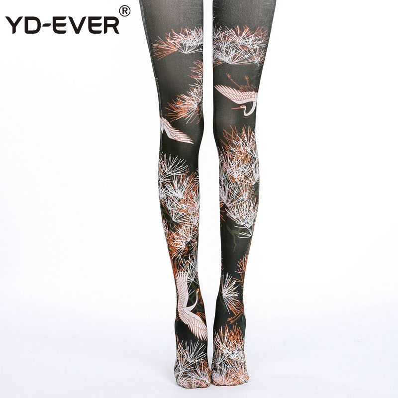 YD-EVER Print Women Tights Cotton Jacquard Pantyhose Brand Fashion Thin Spring Autumn Tattoo Colored Printed Hosiery 67