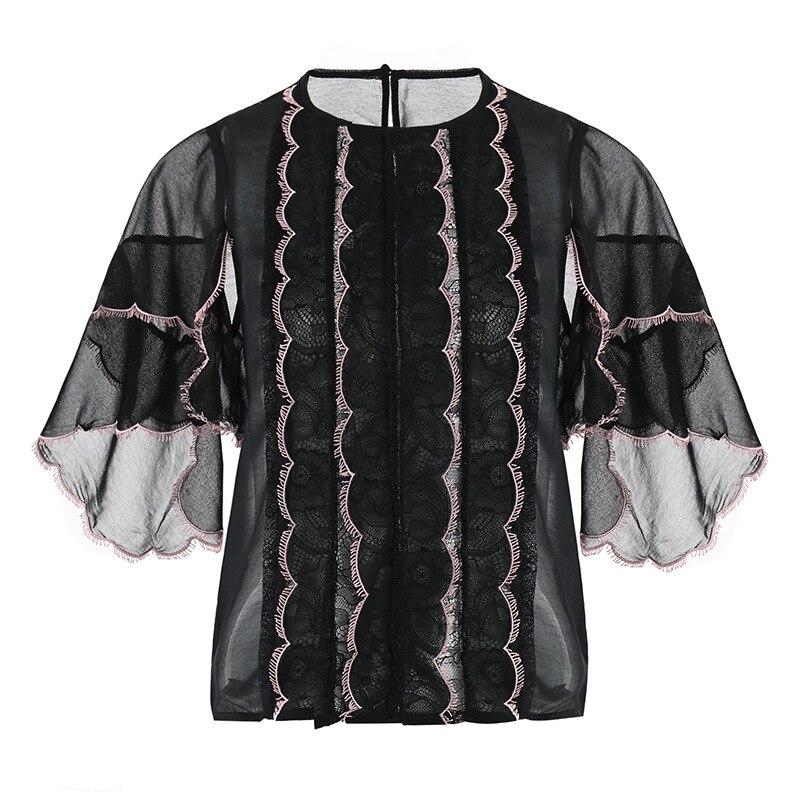 Haute qualité Blouses 2019 printemps été hauts à la mode femmes dentelle Patchwork Flare manches décontracté Sexy blanc hauts noirs Blouse Femme - 5