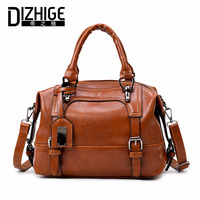 DIZHIGE Brand Boston Women Bag Vintage Four Belts Shoulder Bags Sequined Women Handbags Designer PU Leather